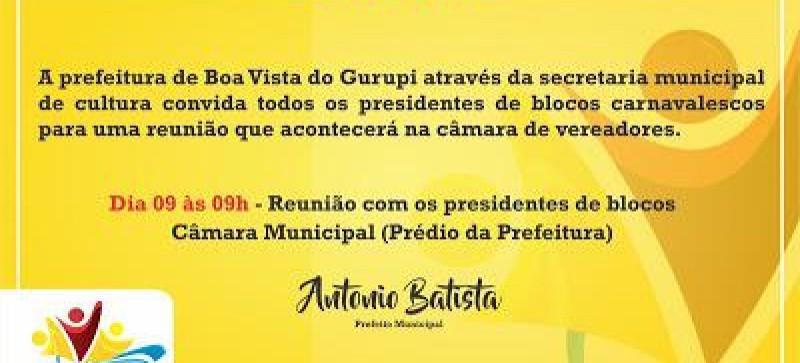 Secretaria de Cultura de Boa Vista do Gurupi convida presidentes de blocos para uma reunião