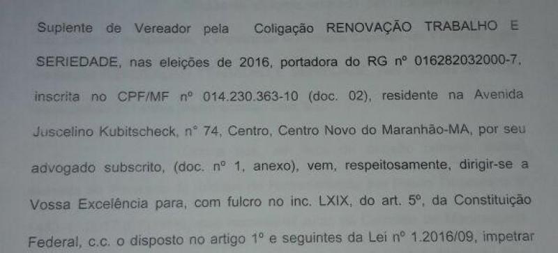 Crise política! Suplente foi obrigada a entrar com mandado de segurança para ver se assume uma das vagas de vereador na Câmara de Centro Novo do Maranhão