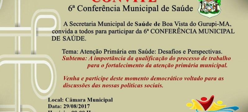Se aproxima a 6ª Conferência Municipal de Saúde de Boa Vista do Gurupi