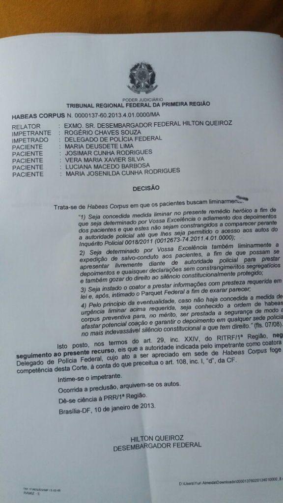 Aluisio requer informações sobre processo de Josimar na Justiça Federal